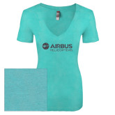 Next Level Ladies Vintage Tahiti Blue Tri Blend V Neck Tee-Airbus Helicopters Graphite Glitter