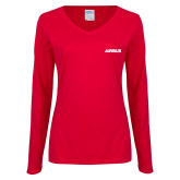 Ladies Red Long Sleeve V Neck T Shirt-Airbus