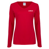 Ladies Cardinal Long Sleeve V Neck T Shirt-Airbus