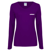 Ladies Purple Long Sleeve V Neck T Shirt-Airbus