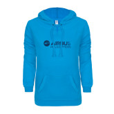 ENZA Ladies Pacific Blue V-Notch Raw Edge Fleece Hoodie-Airbus Helicopters Foil