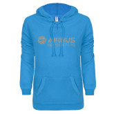 ENZA Ladies Pacific Blue V-Notch Raw Edge Fleece Hoodie-Airbus Helicopters Silver Soft Glitter