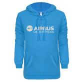 ENZA Ladies Pacific Blue V-Notch Raw Edge Fleece Hoodie-Airbus Helicopters White Soft Glitter