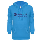 ENZA Ladies Pacific Blue V-Notch Raw Edge Fleece Hoodie-Airbus Helicopters Dark Blue Glitter