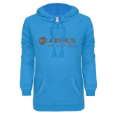 ENZA Ladies Pacific Blue V-Notch Raw Edge Fleece Hoodie-Airbus Helicopters Graphite Glitter