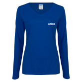 Ladies Royal Long Sleeve V Neck T Shirt-Airbus