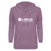 ENZA Ladies Hot Violet V Notch Raw Edge Fleece Hoodie-Airbus Helicopters