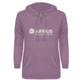 ENZA Ladies Hot Violet V Notch Raw Edge Fleece Hoodie-Airbus Helicopters White Soft Glitter