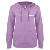 ENZA Ladies Hot Violet V Notch Raw Edge Fleece Hoodie-Airbus