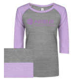 ENZA Ladies Athletic Heather/Hot Violet Vintage Triblend Baseball Tee-Airbus Helicopters Lilac Soft Glitter