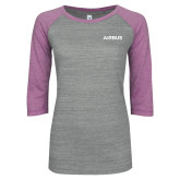 ENZA Ladies Athletic Heather/Violet Vintage Baseball Tee-Airbus