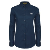 Ladies Navy Twill Button Down Long Sleeve-H125 Craft