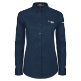 Ladies Navy Twill Button Down Long Sleeve-H120 Craft