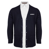 Navy V Neck Cardigan w/Pockets-Airbus