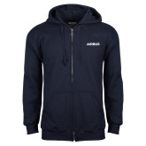 Navy Fleece Full Zip Hoodie-Airbus