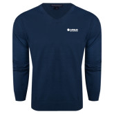 Classic Mens V Neck Navy Sweater-Airbus Helicopters