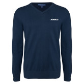 Classic Mens V Neck Navy Sweater-Airbus
