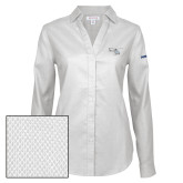 Ladies Red House Non Iron Diamond Dobby White Long Sleeve Shirt-H125 Craft