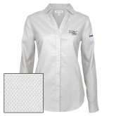 Ladies Red House Non Iron Diamond Dobby White Long Sleeve Shirt-H135 Craft