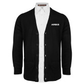 Black V Neck Cardigan w/Pockets-Airbus