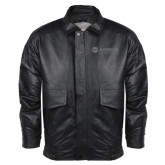 Black Leather Bomber Jacket-Airbus Helicopters