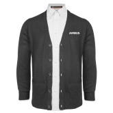 Charcoal V Neck Cardigan w/Pockets-Airbus