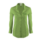 Ladies Red House Green Herringbone Non Iron Long Sleeve Shirt-Airbus Helicopters