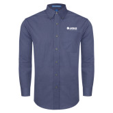 Mens Deep Blue Crosshatch Poplin Long Sleeve Shirt-Airbus Helicopters