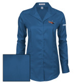 Ladies Red House Deep Blue Herringbone Non Iron Long Sleeve Shirt-USCG MH65 Craft