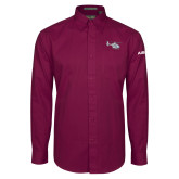 Maroon Twill Button Down Long Sleeve-H135 Craft