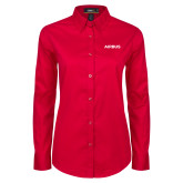 Ladies Red Twill Button Down Long Sleeve-Airbus