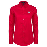 Ladies Red Twill Button Down Long Sleeve-H125 Craft