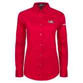 Ladies Red Twill Button Down Long Sleeve-H155 Craft