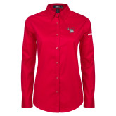 Ladies Red Twill Button Down Long Sleeve-H130 Craft