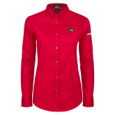 Ladies Red Twill Button Down Long Sleeve-H145 Craft