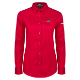 Ladies Red Twill Button Down Long Sleeve-H175 Craft
