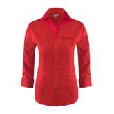 Ladies Red House Red 3/4 Sleeve Shirt-Airbus Helicopters