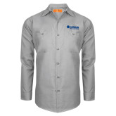 Red Kap Light Grey Long Sleeve Industrial Work Shirt-Airbus Helicopters