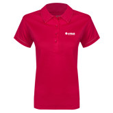 Ladies Pink Raspberry Contrast Stitch Micropique Sport Wick Polo-Airbus Helicopters