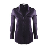 Ladies Red House Deep Purple Herringbone Non Iron Long Sleeve Shirt-Airbus Helicopters