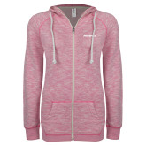 ENZA Ladies Hot Pink Marled Full Zip Hoodie-Airbus