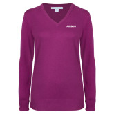 Ladies Deep Berry V Neck Sweater-Airbus