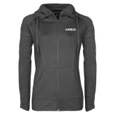 Ladies Sport Wick Stretch Full Zip Charcoal Jacket-Airbus