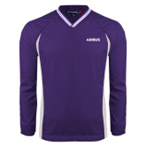 Colorblock V Neck Purple/White Raglan Windshirt-Airbus