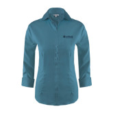 Ladies Red House Teal Blue 3/4 Sleeve Shirt-Airbus Helicopters