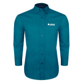 Teal Green Twill Button Down Long Sleeve-Airbus Helicopters