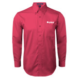 Tropical Pink Twill Button Down Long Sleeve-Airbus Helicopters