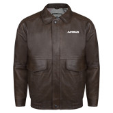 Brown Leather Bomber Jacket-Airbus