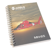 Clear 7 x 10 Spiral Journal Notebook-USCG MH65 In Sunset Over Ocean