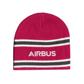 Pink/Charcoal/White Striped Knit Beanie-Airbus